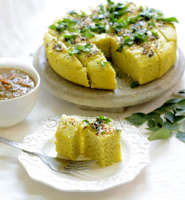 Moong dal dhokla green lentil savory cake recipe spoon fork and food forumfinder Images