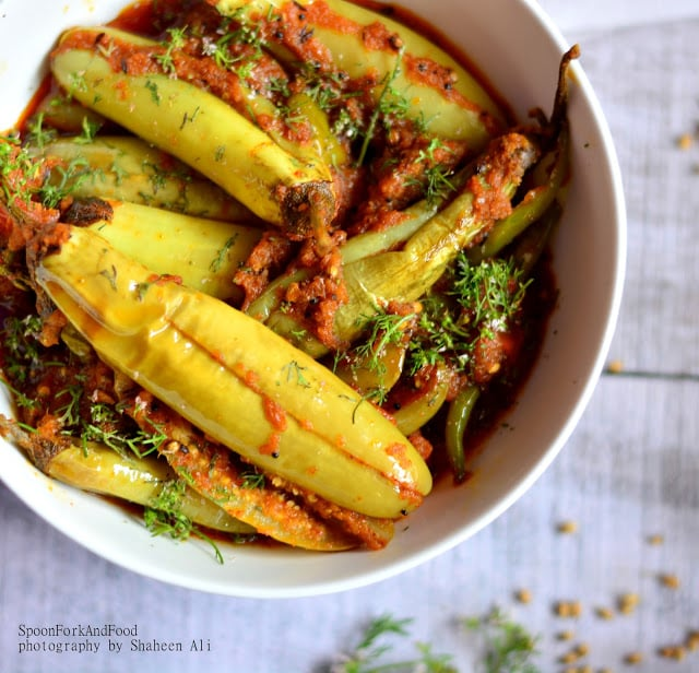 Safed Achari Baigan White Aubergine In Pickled Curry Recipe Spoon Fork And Food