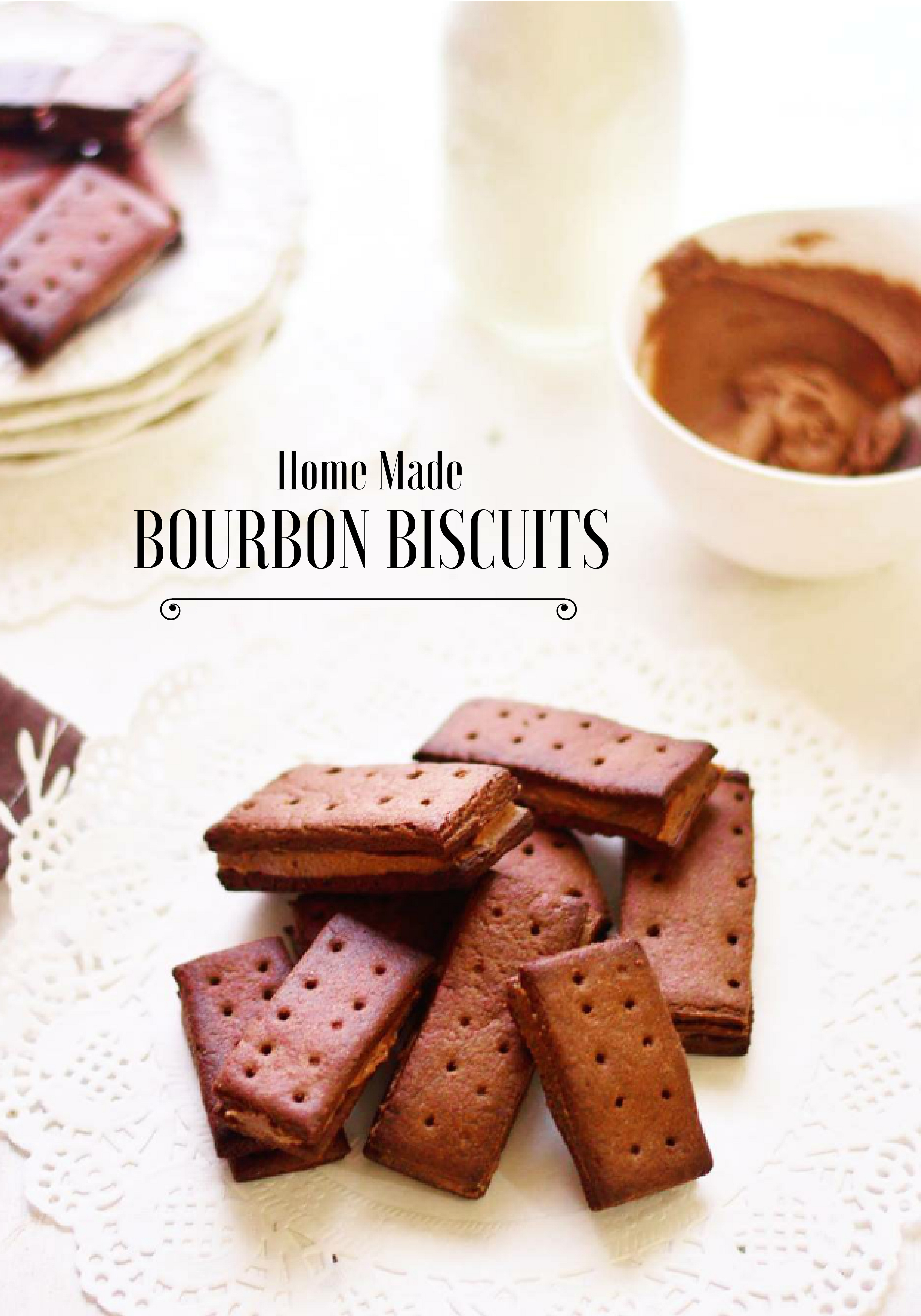 Homemade Bourbon Biscuit Chocolate Cream Filled Biscuits